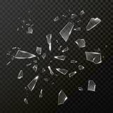 残破的被打碎的玻璃残骸 透明的传染媒介 向量例证