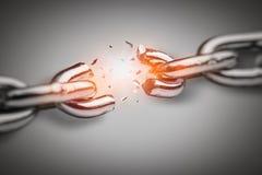 残破的链子 在企业概念上的冲突 免版税库存图片