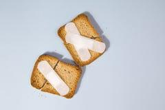残破的面包干和医疗膏药 图库摄影