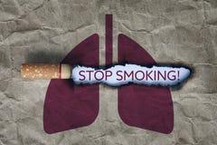 残破的香烟概念抽烟的终止 免版税库存照片