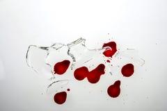 残破的玻璃和血液 库存图片