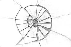 残破的玻璃难看的东西层数-在白色 免版税库存照片