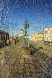 残破的玻璃(在基督的看法救主大教堂在莫斯科) 免版税库存照片