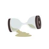 残破的Sandclock滴漏和时间 免版税库存图片