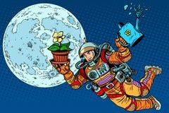 殖民化月亮宇航员植物 免版税库存照片