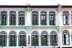 殖民地建筑学样式Shophouses在新加坡 免版税图库摄影