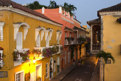 殖民地街道场面,卡塔赫钠,哥伦比亚 免版税库存照片