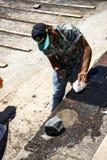 毁坏一条鱼在Camara de罗伯斯一个渔村在市丰沙尔附近和有某些最高的峭壁在世界上 免版税库存照片
