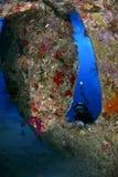 击毁潜水在红海 库存照片
