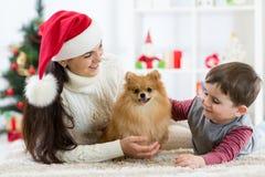 母亲、她的儿子孩子和狗波美丝毛狗圣诞节愉快的家庭  免版税库存照片