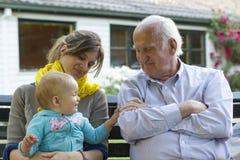 母亲、孩子和祖父 图库摄影