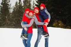 母亲、父亲和两个儿子获得乐趣在雪冬天 库存图片