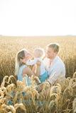 母亲、父亲和儿子夏天愉快的画象  免版税库存图片