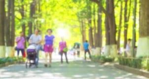 母亲、父亲和婴孩走在公园的婴儿推车的 库存照片