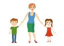 母亲举行儿童的手 免版税库存图片