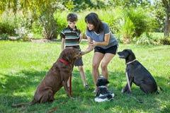 母亲和儿子与款待的训练狗 免版税库存图片