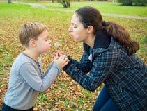 母亲和儿子吹的蒲公英 免版税库存图片