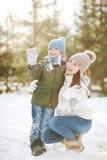 母亲和儿子在冬天公园 免版税库存图片