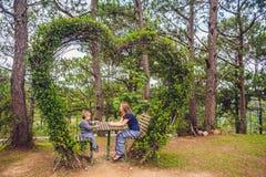 母亲和儿子在灌木下以心脏的形式 St华伦泰` s天,爱概念 免版税库存图片
