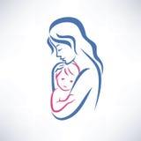 母亲和儿子标志 库存照片