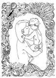 母亲和儿子照片框架的 花卉 传染媒介zentangle 皇族释放例证