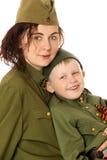 母亲和儿子疲劳 免版税图库摄影