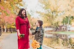母亲和儿子获得乐趣在落的叶子中的秋天公园 秋天概念查出的白色 免版税库存照片