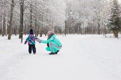 母亲和儿童女孩在一个冬天走本质上 愉快的系列 免版税库存照片