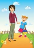 母亲和女儿传染媒介例证 免版税库存图片