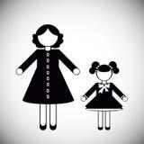 母亲和女儿剪影 免版税库存照片