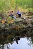 母亲和女儿反射 免版税图库摄影