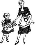 母亲和女儿烘烤 皇族释放例证