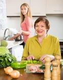 母亲和女儿烹调 免版税图库摄影