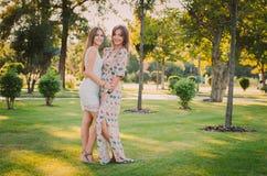 母亲和女儿爱  一个愉快的母亲和女儿在夏天公园休息 愉快概念的系列 免版税库存图片