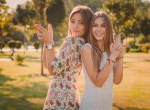 母亲和女儿爱  一个愉快的母亲和女儿获得乐趣在夏天公园 愉快概念的系列 图库摄影