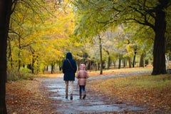 母亲和女儿秋天公园的 免版税图库摄影