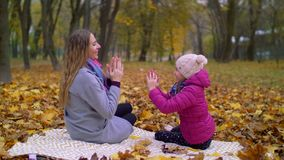 母亲和女儿获得乐趣在秋天公园 股票录像