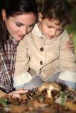 母亲和女儿采摘蘑菇 库存图片