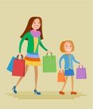 母亲和女儿购物 库存例证