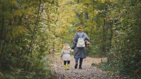 年轻母亲和她的走在秋天的女儿小女孩停放 库存图片