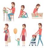 母亲和婴孩 爱使用与新出生的孩子女孩和男孩的幸福家庭父母导航卡通人物 皇族释放例证