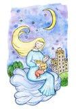 母亲和孩子一朵云彩的在天空在城市在晚上 免版税库存照片