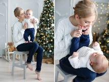母亲和孩子圣诞节拼贴画  免版税库存照片