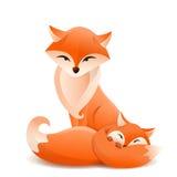 母亲和孩子狐狸 也corel凹道例证向量 图库摄影