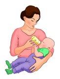 母亲和孩子 在瓶的牛奶 库存照片