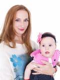母亲和小女儿画象 免版税图库摄影