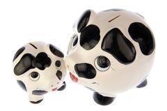 母亲和小猪从上面 免版税库存图片