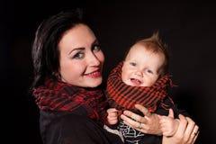 母亲和小男孩庞克摇滚乐的画象 库存图片