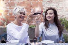 母亲和成人女儿品尝酒 免版税库存照片