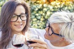 母亲和成人女儿品尝酒 免版税库存图片